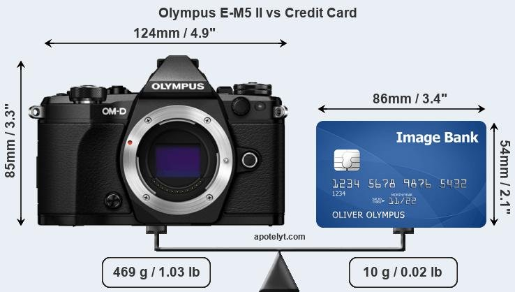 Olympus E-M5 II vs credit card front
