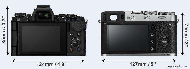 E-M5 II and X100F rear side