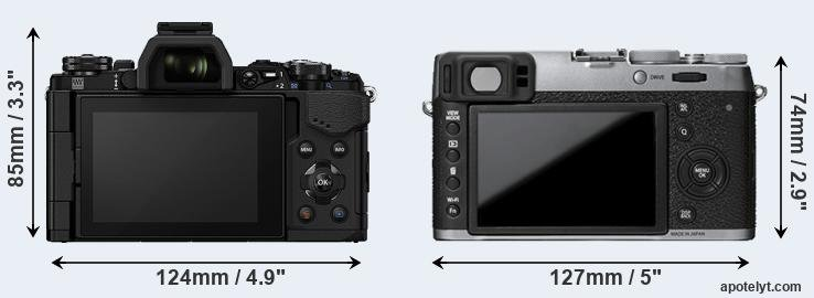 E-M5 II and X100T rear side
