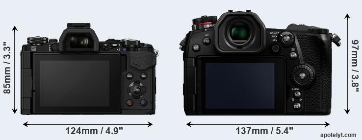 E-M5 II and G9 rear side