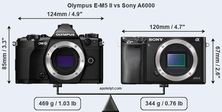 Olympus E-M5 II vs Sony A6000 front