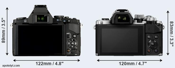 E-M5 and E-M10 II rear side