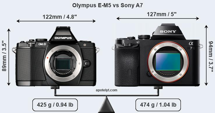 Size Olympus E-M5 vs Sony A7