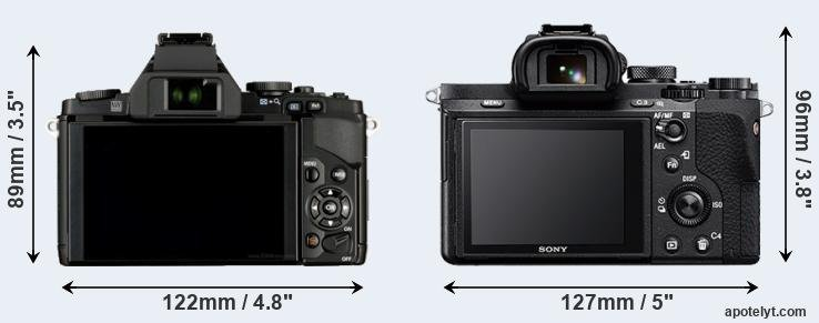 E-M5 and A7 II rear side