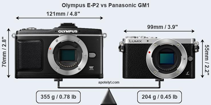 Size Olympus E-P2 vs Panasonic GM1