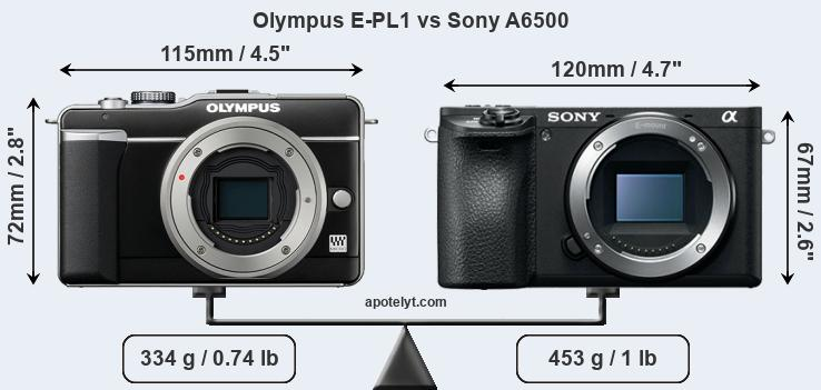 Size Olympus E-PL1 vs Sony A6500