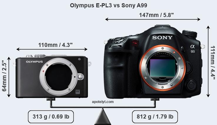 Size Olympus E-PL3 vs Sony A99