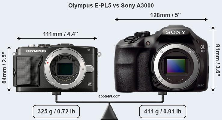 Size Olympus E-PL5 vs Sony A3000