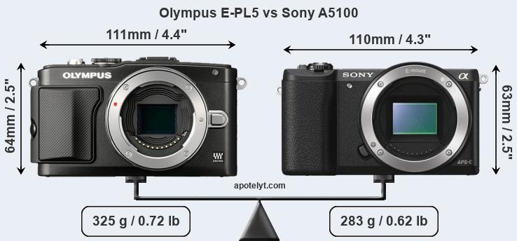 Size Olympus E-PL5 vs Sony A5100