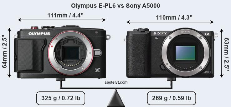 Size Olympus E-PL6 vs Sony A5000