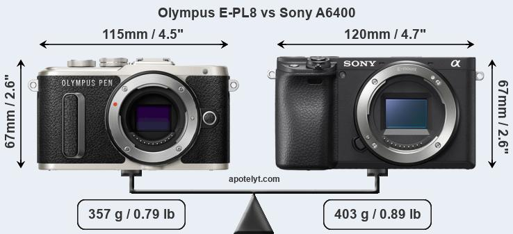 Size Olympus E-PL8 vs Sony A6400