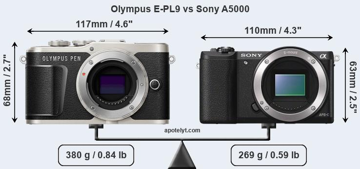 Size Olympus E-PL9 vs Sony A5000