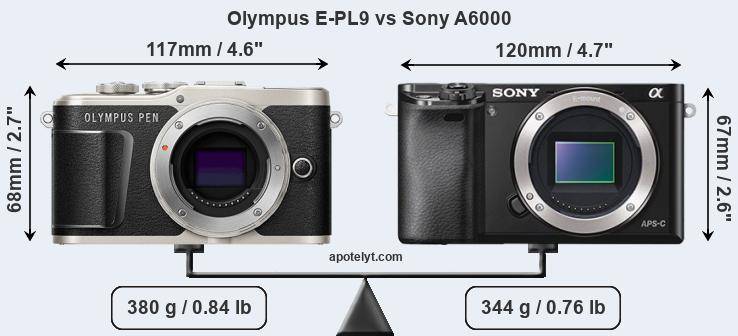 Size Olympus E-PL9 vs Sony A6000