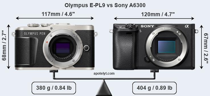 Size Olympus E-PL9 vs Sony A6300