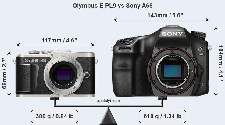 Size Olympus E-PL9 vs Sony A68