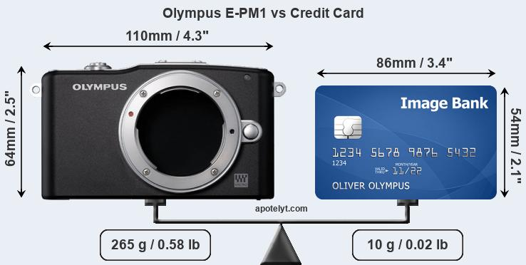 Olympus E-PM1 vs credit card front