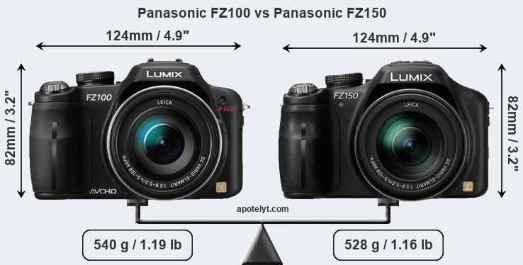 Size Panasonic FZ100 vs Panasonic FZ150