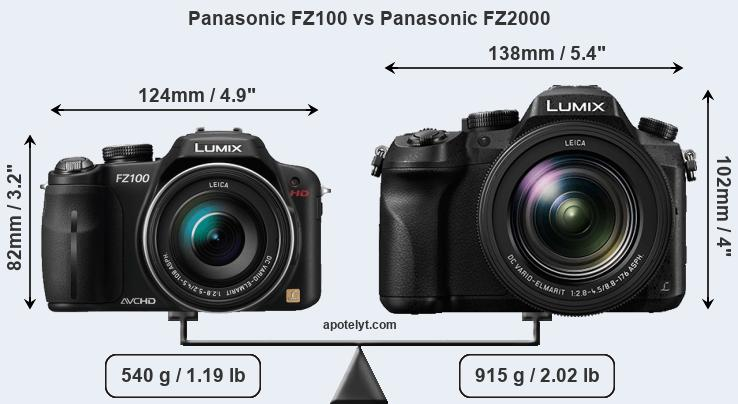 Size Panasonic FZ100 vs Panasonic FZ2000