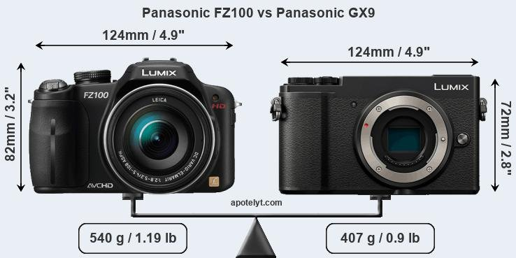Size Panasonic FZ100 vs Panasonic GX9