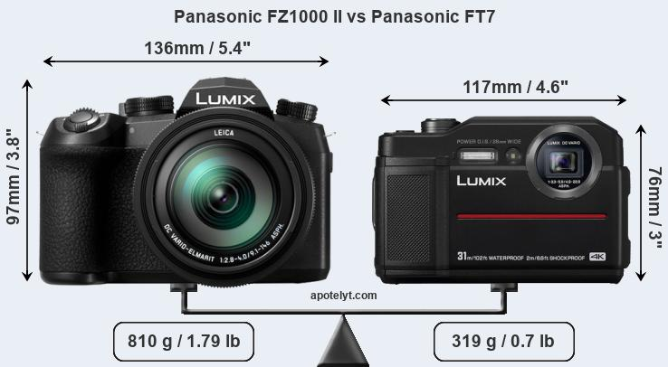 Size Panasonic FZ1000 II vs Panasonic FT7