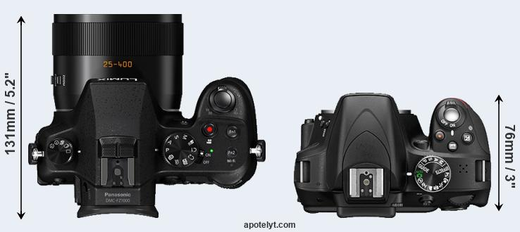 FZ1000 versus D3300 top view