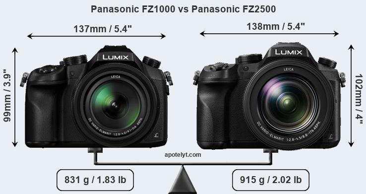 Size Panasonic FZ1000 vs Panasonic FZ2500