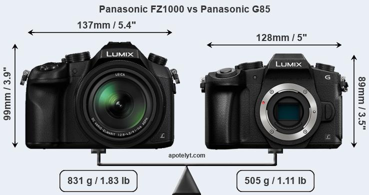Size Panasonic FZ1000 vs Panasonic G85