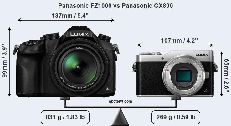 Size Panasonic FZ1000 vs Panasonic GX800
