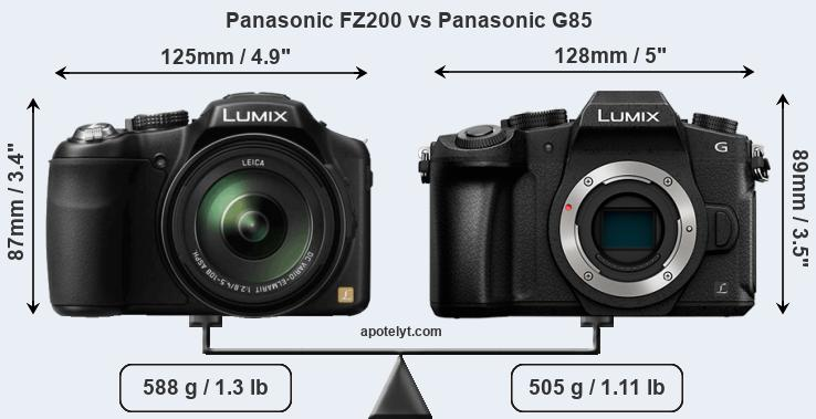 Size Panasonic FZ200 vs Panasonic G85