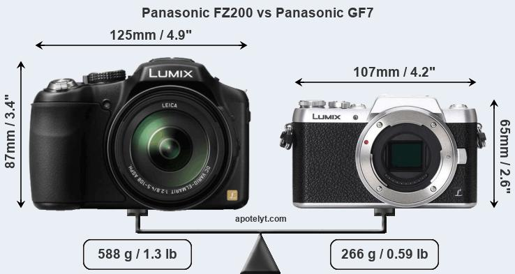 Size Panasonic FZ200 vs Panasonic GF7