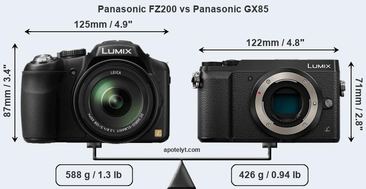 Size Panasonic FZ200 vs Panasonic GX85