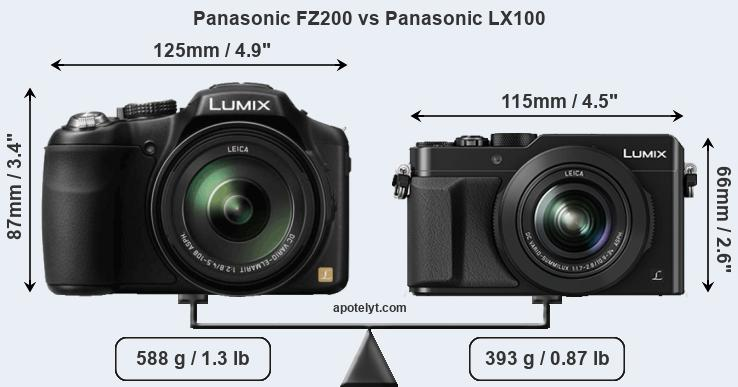 Size Panasonic FZ200 vs Panasonic LX100