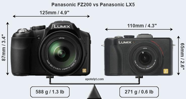 Size Panasonic FZ200 vs Panasonic LX5