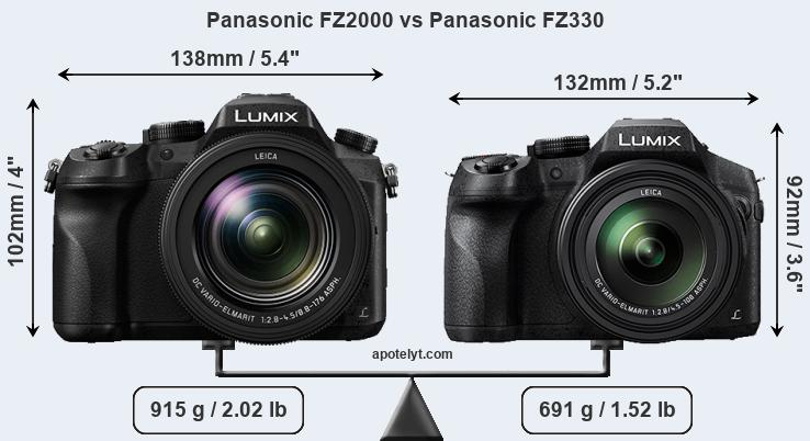 Size Panasonic FZ2000 vs Panasonic FZ330
