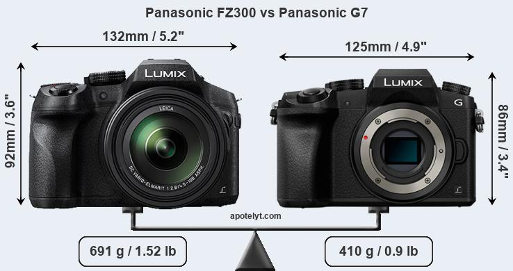 Size Panasonic FZ300 vs Panasonic G7