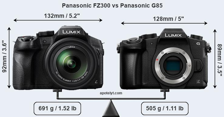 Size Panasonic FZ300 vs Panasonic G85