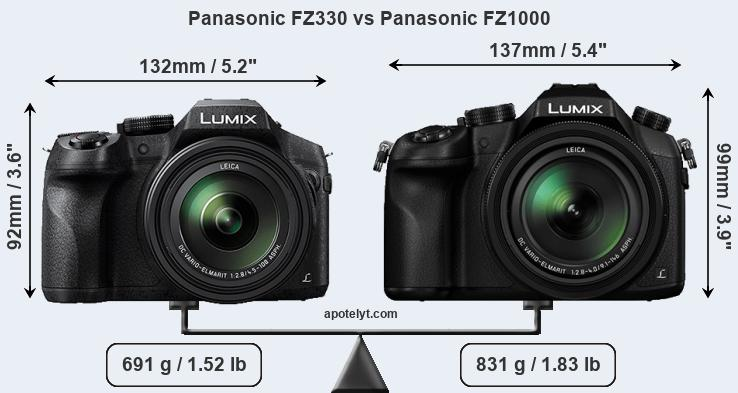 Panasonic FZ330 vs Panasonic FZ1000 front