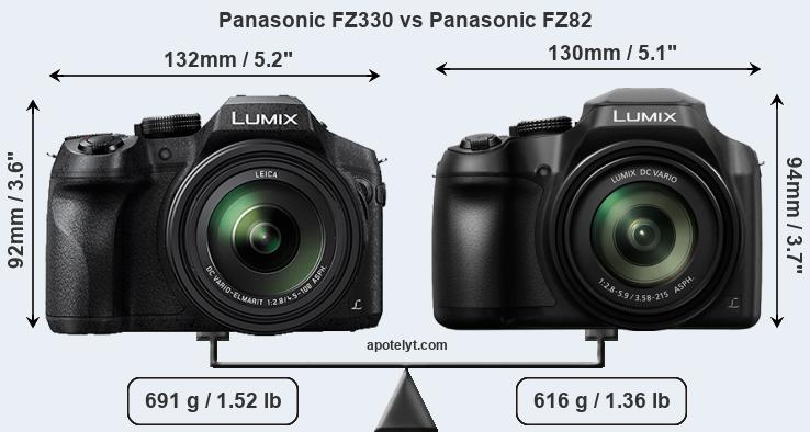 Size Panasonic FZ330 vs Panasonic FZ82