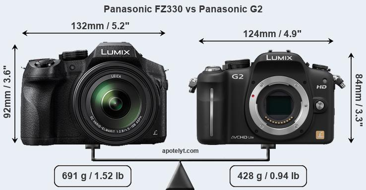 Size Panasonic FZ330 vs Panasonic G2