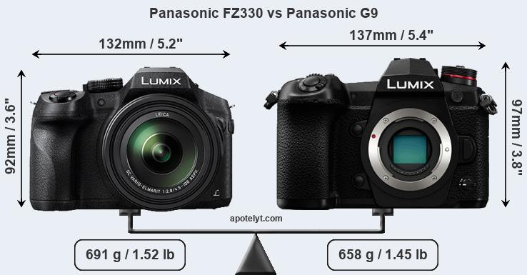 Size Panasonic FZ330 vs Panasonic G9