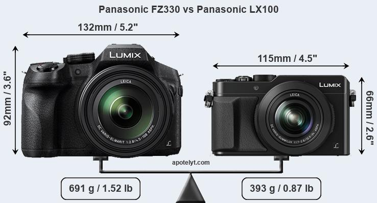 Panasonic FZ330 vs Panasonic LX100 front