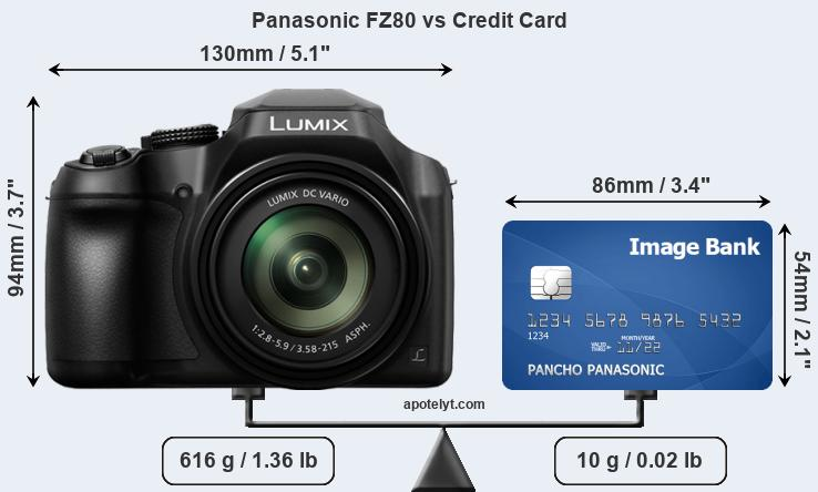 Panasonic FZ80 vs credit card front