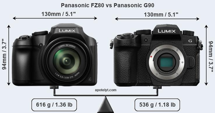 Size Panasonic FZ80 vs Panasonic G90