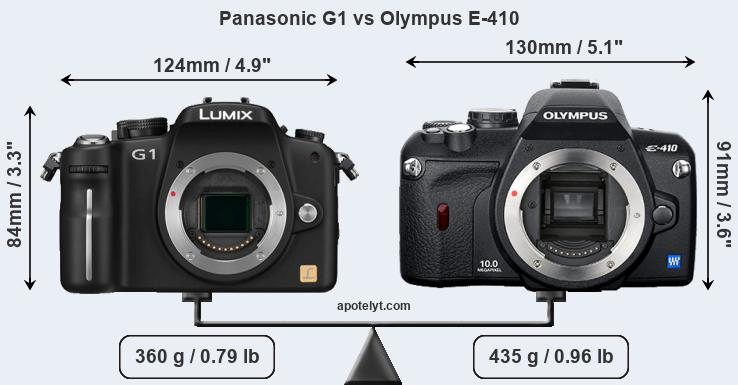 Compare Panasonic G1 and Olympus E-410
