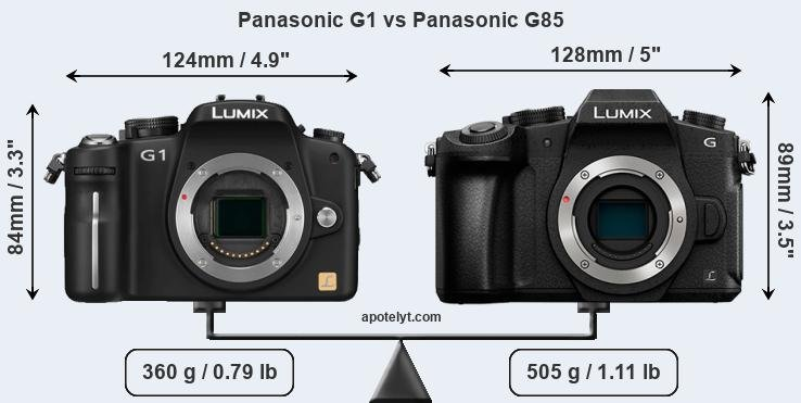 Size Panasonic G1 vs Panasonic G85