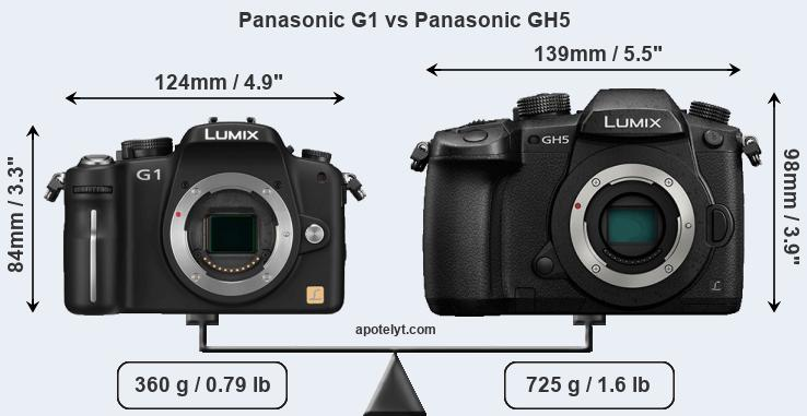 Size Panasonic G1 vs Panasonic GH5