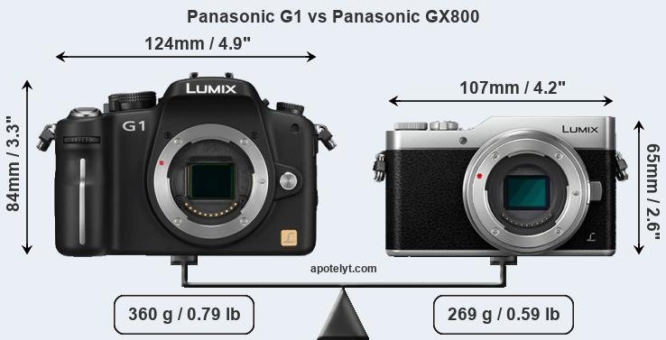 Size Panasonic G1 vs Panasonic GX800