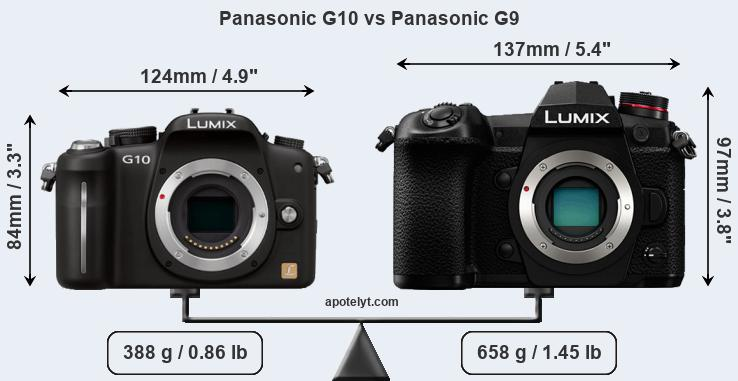 Size Panasonic G10 vs Panasonic G9
