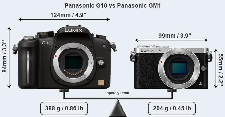 Size Panasonic G10 vs Panasonic GM1