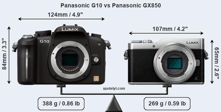 Size Panasonic G10 vs Panasonic GX850